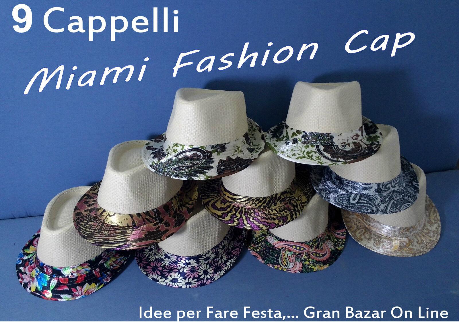 CAPPELLO MIAMI FASHION FASHION FASHION CAP 9 Pz. FESTA SUN PARTY Accessori Amimazione Moda Mare 90d68e