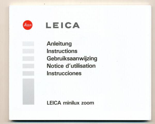Actif Leica Instructions For Leica Minilux Zoom 1998 E810 Larges VariéTéS