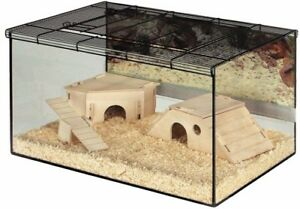 Large Hamster Glass Cage Terrarium Gerbil Small Pet Home Deep Tray