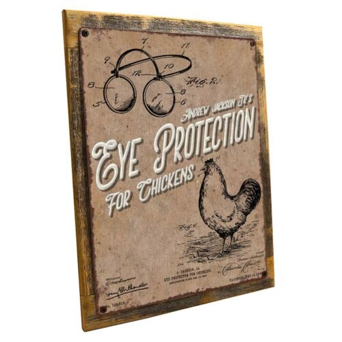Eye Protection for Chickens Metal Sign; Wall Decor for Farm and Country
