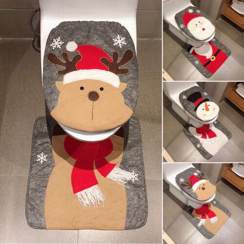 2PCS Set Fancy Snowman Toilet Lid And Carpet Bathroom Set Christmas Decoration