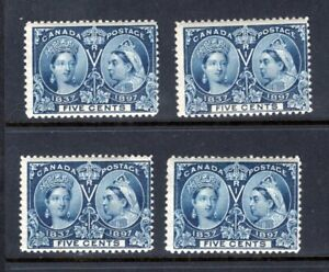 4-x-1897-Canada-Scott-54-MINT-MNH-Queen-Victoria-Jubilee-Issue-5-CENTS