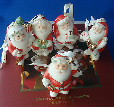 """Lenox Standabouts set of 5 Santa Claus porcelain Christmas ornaments 2¾"""""""