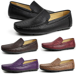 Mens-NEW-Slip-On-Crocodile-Loafers-Driving-Shoes-Casual-Smart-Moccasin-UK-Size