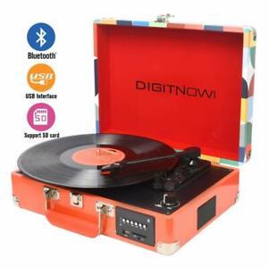 Digitnow-Tourne-Disque-Bluetooth-Vinyle-Fonction-Enregistrement-Fm-MP3-USB-SD