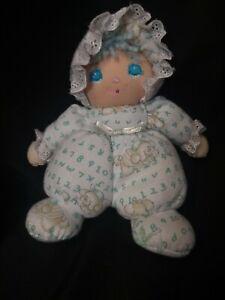"VTG Little Darlins Plush Doll 8"" Puppy Alphabet Number Pajamas Blue Hair Girl"