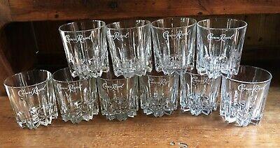 ITALY Vintage CROWN ROYAL Starburst White Cursive Logo Rocks Glasses Set of 6