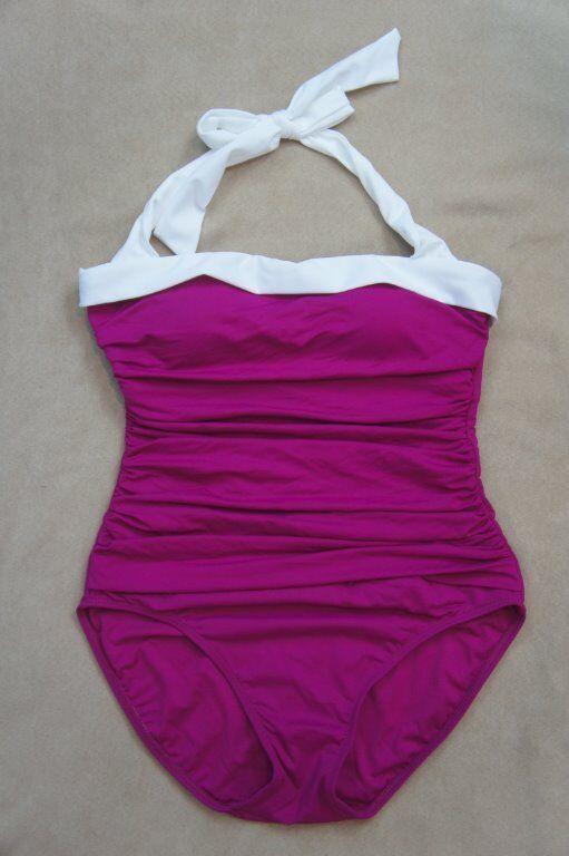 Ralph Lauren Swimsuit Sz 6 Pink White Halter Ruched One Piece Swimwear LR53H11