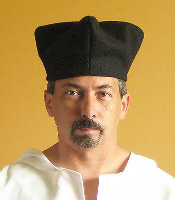 Medieval Celtic Renaissance Larp SCA Priest Cardinal Clerk Clergy Hat (High)