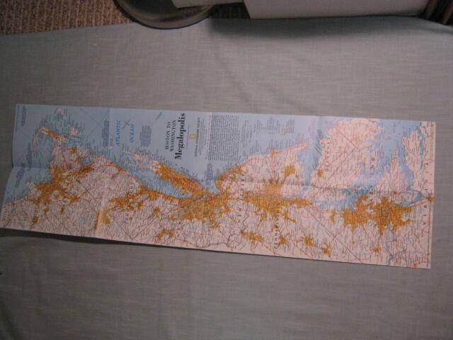 BOSTON TO WASHINGTON CIRCA 1830 + MEGALOPOLIS MAP National Geographic July 1994