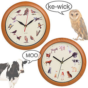 Yard-Animal-Print-Wall-Clock-Musical-Sounds-Battery-Operated-Kitchen-Kids-Design