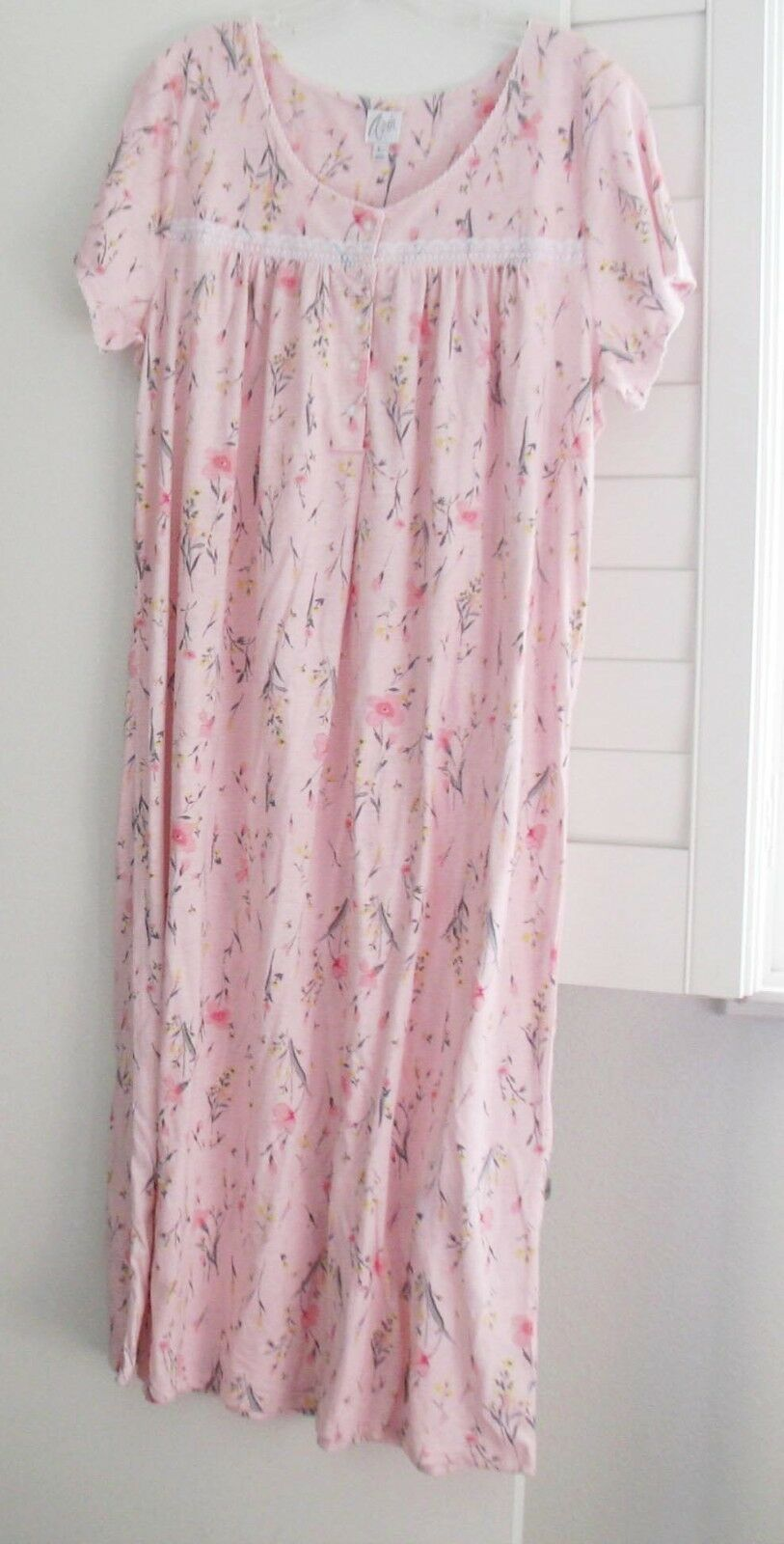 Aria Womens Pink Floral Short Sleeve Nightgown A28117805 Sz L - NWT