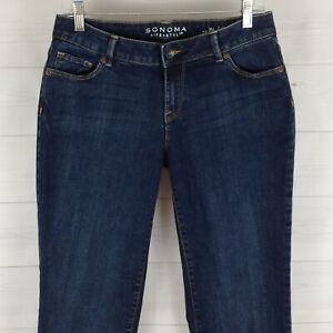 SONOMA-womens-size-6-LONG-stretch-blue-dark-wash-mid-rise-curvy-straight-jeans
