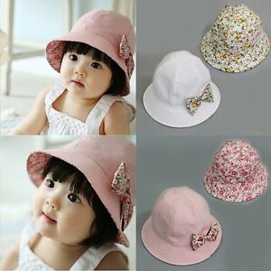 ce94e8b521a Cute Bow Flower Toddler Baby Girls Kids Summer Sun Hat Double ...