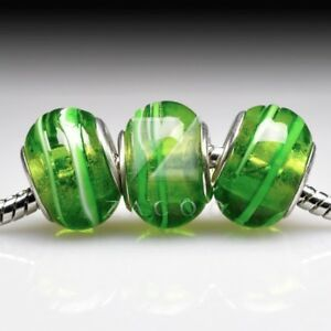 5pcs Murano Glass Bead Lampwork Round Spacer Fit European Bracelet LB0120