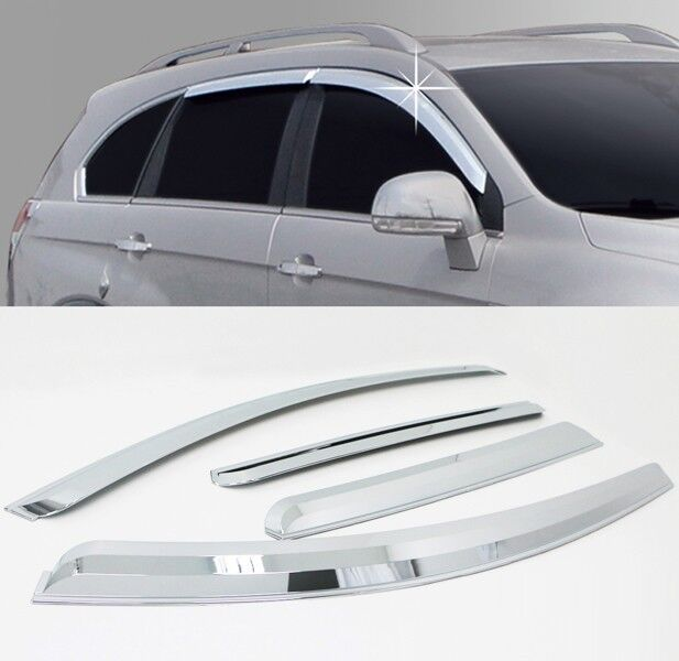 Chrome Window Sun Visor Vent Guard Wind Rain 4p For 2013-2016 Chevy Captiva
