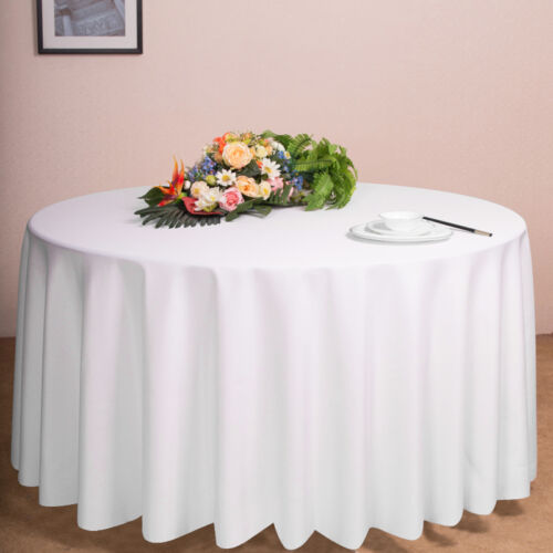 1 5 10pcs Round Polyester Tablecloth Table cover Cloth Wedding Large Table Cloth
