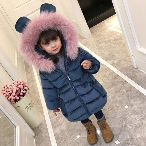 Kids Girls Winter Hooded Coat Thicken Cotton Jacket Fur Collar Parka Cute Coat