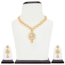 Ethnic Indian  Fashion Jewelry Set Paisley Pearl Necklace Set:MINE0103LP