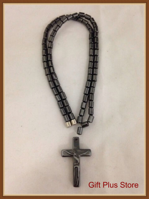 Magnetic Hematite Beads Religious Jesus On Cross Pendant Necklace (S)