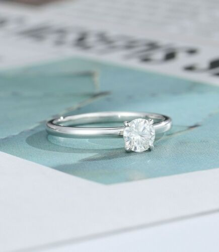 Details about  /0.50 Carat Round Diamond 4 Claw Solitaire Engagement Ring 14K White Gold Plated