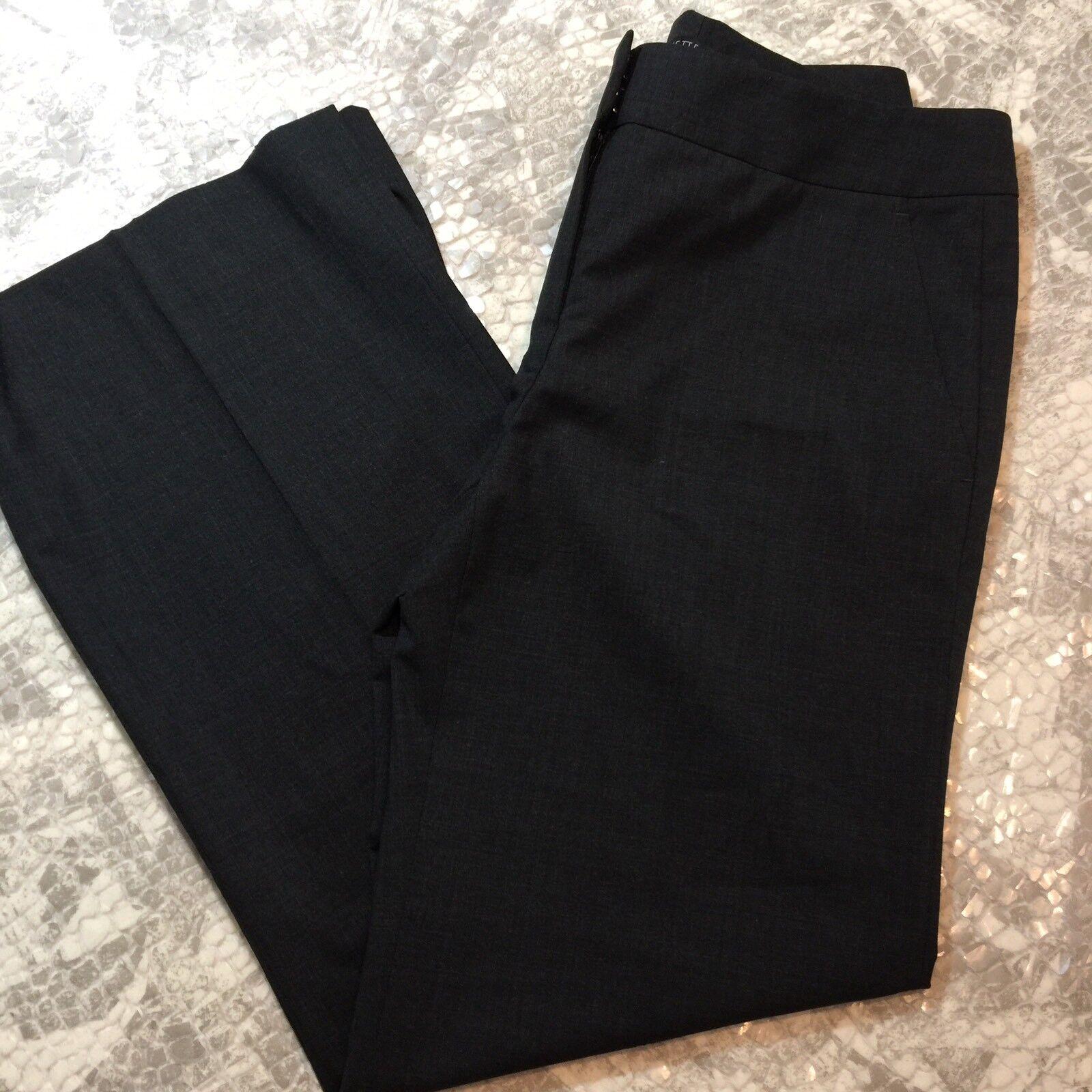 Lafayette 148 NY Smoke Grey Straight Leg Wool Flat Front Pant Size 2 S927