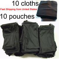 20 Piece Sunglasses Case Black Microfiber Soft 10 Pouches & 10 Cleaning Cloths