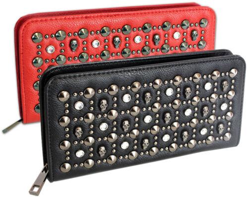 Damen Geldbörse groß Clutch Portemonnaie mit Nieten umlaufender Reißverschluss