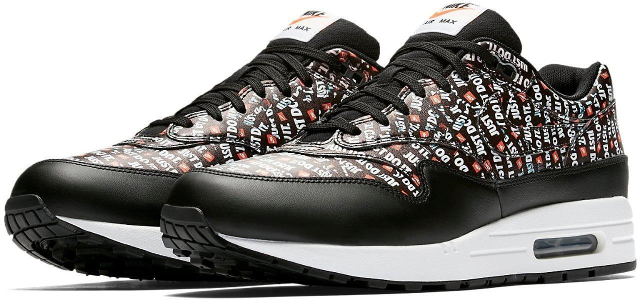Nike Air Max 1 Premium 'Just Do It' 875844 009 BLACK TOTAL orange sz 8.5-11