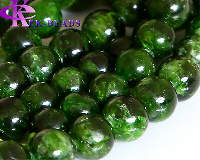 """Wholesale Genuine Natural Green Chrome Diopside Round Loose Beads 3-10mm 16"""""""