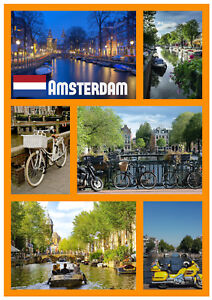 Amsterdam Sites - Souvenir Nouveauté Réfrigérateur Aimant - Cadeaux / / Flags /