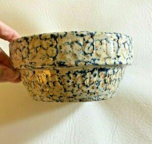 Vintage-AMERICANA-GENERAL-Spongeware-Blue-Brown-Stoneware-Pottery-Bowl-5-034