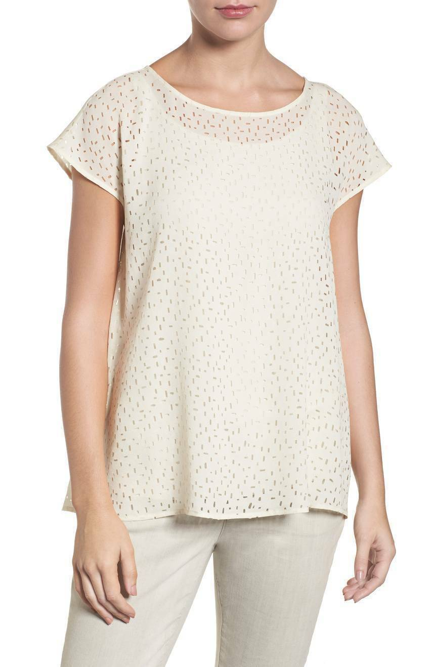Eileen Fisher NWT  Bone Ballet Neck Aline Top XS Confetti Laser Cut Silk New
