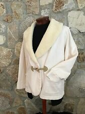 LRL Lauren Jeans Co Ralph IVORY Fleece Shawl Collar Toggle Jacket Coat Womens 1X