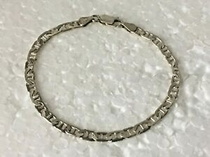 Vtg-HAN-Petite-Solid-Sterling-Silver-anchor-chain-7-in-034-Bracelet-925-Italy