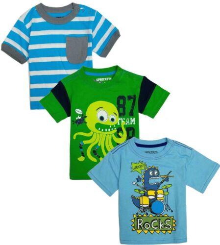 Baby Boy Tee Shirt 3-Pack Short Sleeve Crew Neck Rocks Blue 12 18 24 Months New