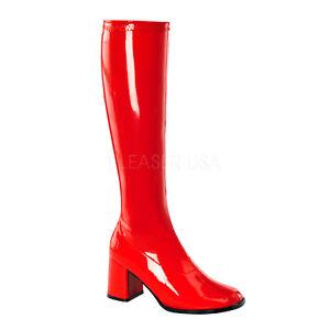 PLEASER-FUNTASMA-GoGo-300-Red-Patent-Stretch-70s-Disco-Fancy-Dress-Knee-Boots