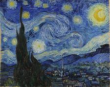 STARRY NIGHT 24X36 POSTER WALL ART OIL ON CANVAS VINCENT VAN GOGH ARTIST PAINT!!