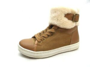aldo tan leather suede high top fur buckle sneaker casual
