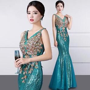 Womens-Sequins-Long-V-Neck-Fishtail-Dress-Slim-Evening-Party-Dress-Ball-Gown-SZ