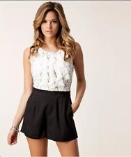 Lipsy Lace Top Playsuit Jumpsuit Size 8 Party Club Dress Cream Black White Short