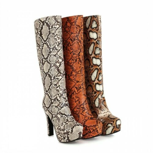 Details about  /44//48 Women/'s Cosplay Knee High Riding Boots Cowboy Block Heel Outdoor Gothic L