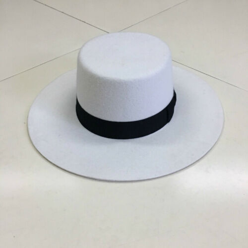 Bolero Hat for womens 100/% Wool Felt Boater Hat Wide Brim Flat Top White