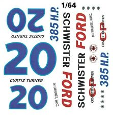 #20 Curtis Turner Schwister Ford 1962 1/64th HO Scale Slot Car Waterslide Decals