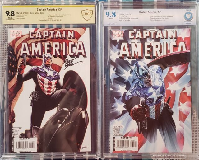 Captain America #34s CBCS 9.8 signed by Steve Epting 1st Bucky Barnes as Capt.