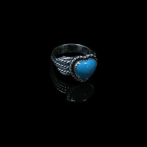QVC-925-Sterling-Silver-Natural-TRUE-Turquoise-Heart-Ring-Band-Size-7