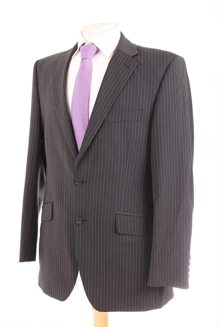 M&S AUTOGRAPH CHARCOAL GREY PINSTRIPE MEN'S SUIT 40R DRY-CLEANED