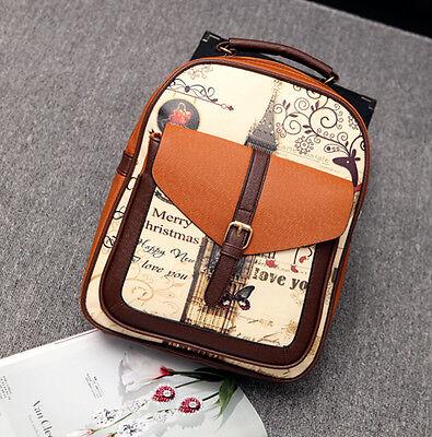 Fashion Women's PU Leather Travel Satchel Shoulder Backpack School Rucksack Bag
