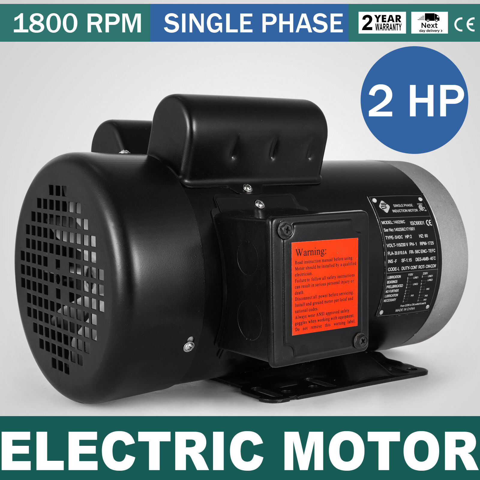 Franklin Electric 8351510141 115V Single Phase 0.95A 1//50HP 3000RPM 60Hz Motor