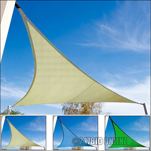 GARDEN PATIO TRIANGLE SUN SHADE SAIL CANOPY AWNING SUNSCREEN WITH CORDS 3m or 4m